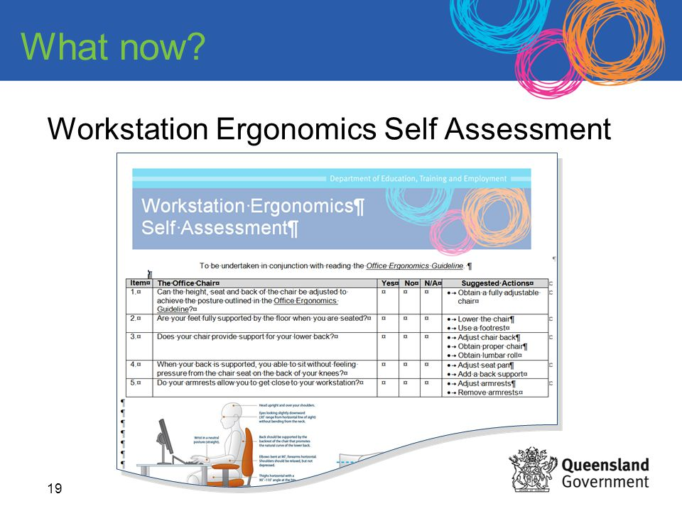 19 Workstation Ergonomics Self Assessment What now?