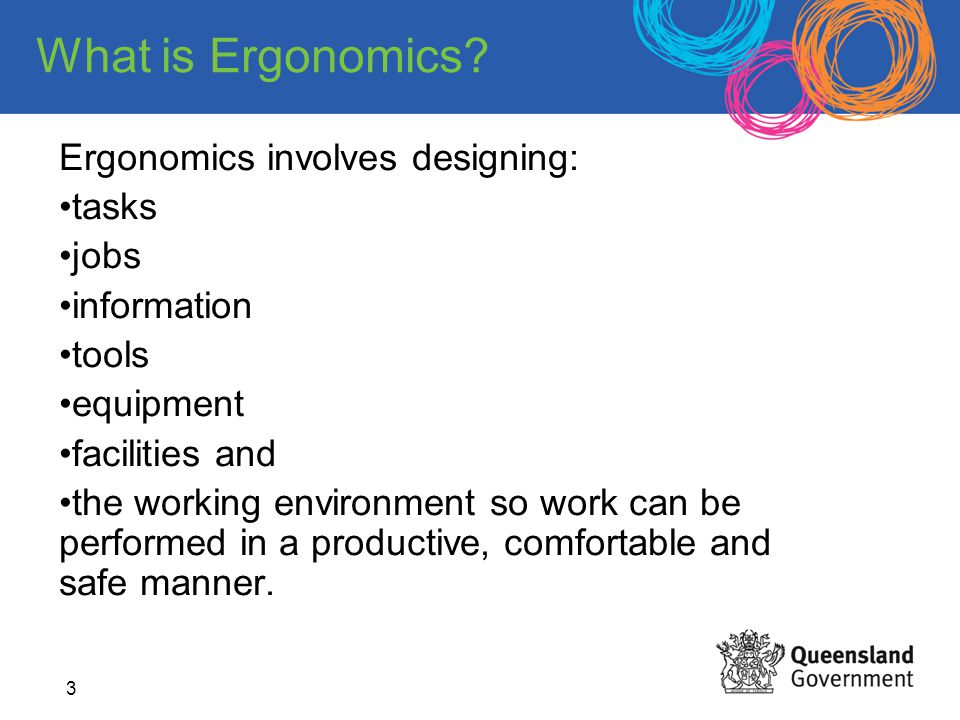 Potential benefits of good office ergonomics practices include: reduction in work-related injuries increased productivity increased quality of work reduced absenteeism increased morale.