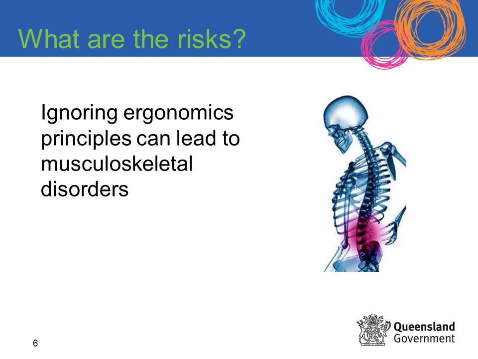 6 What are the risks? Ignoring ergonomics principles can lead to musculoskeletal disorders