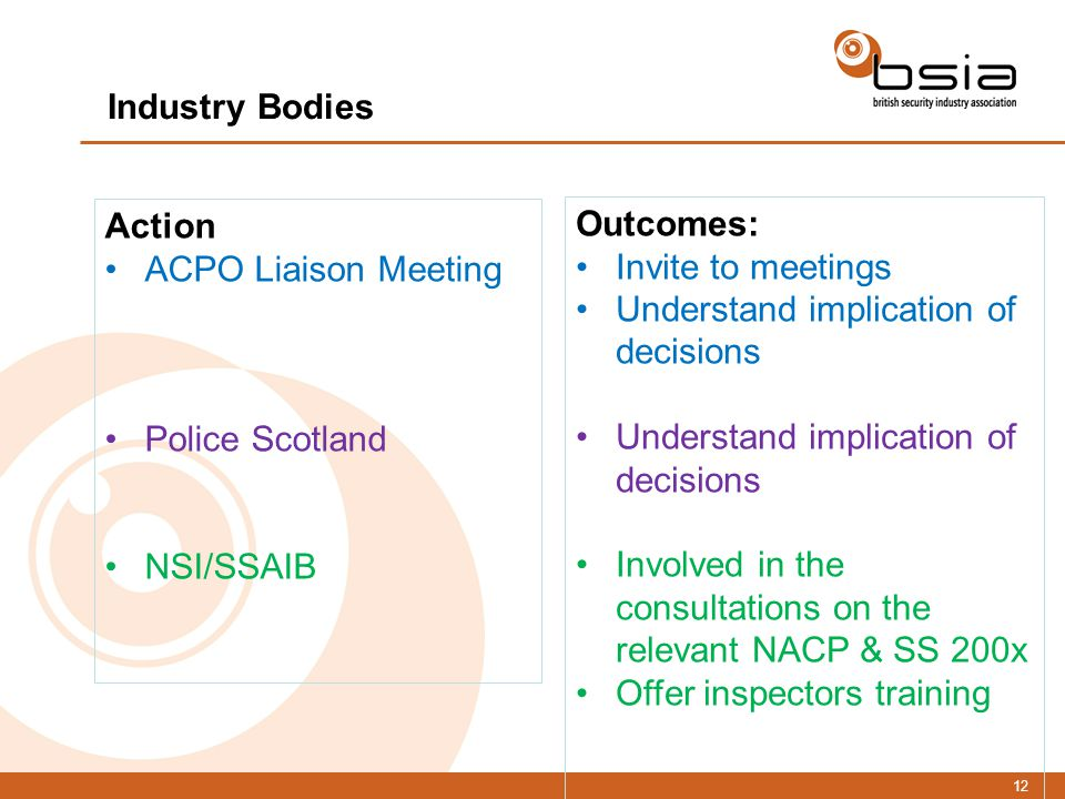 12 Action ACPO Liaison Meeting Police Scotland NSI/SSAIB Outcomes: Invite to meetings Understand implication of decisions Involved in the consultations on the relevant NACP & SS 200x Offer inspectors training Industry Bodies