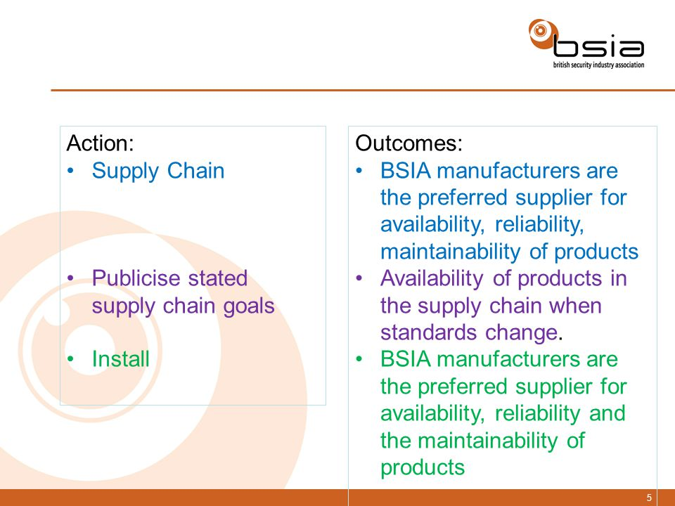 5 Action: Supply Chain Publicise stated supply chain goals Install Outcomes: BSIA manufacturers are the preferred supplier for availability, reliability, maintainability of products Availability of products in the supply chain when standards change.