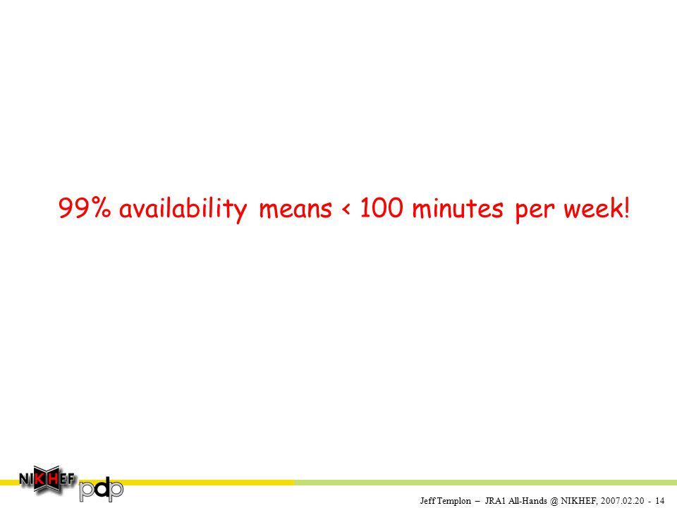 Jeff Templon – JRA1 All-Hands @ NIKHEF, 2007.02.20 - 14 99% availability means < 100 minutes per week!