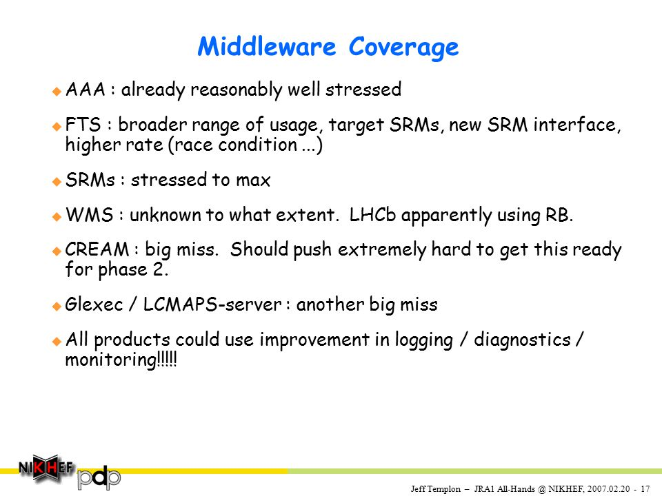 Jeff Templon – JRA1 All-Hands @ NIKHEF, 2007.02.20 - 17 Middleware Coverage u AAA : already reasonably well stressed u FTS : broader range of usage, target SRMs, new SRM interface, higher rate (race condition...) u SRMs : stressed to max u WMS : unknown to what extent.