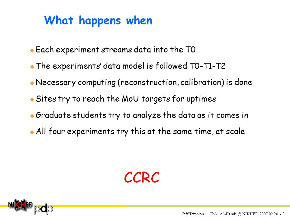 Jeff Templon – JRA1 All-Hands @ NIKHEF, 2007.02.20 - 3 What happens when u Each experiment streams data into the T0 u The experiments' data model is followed T0-T1-T2 u Necessary computing (reconstruction, calibration) is done u Sites try to reach the MoU targets for uptimes u Graduate students try to analyze the data as it comes in u All four experiments try this at the same time, at scale CCRC