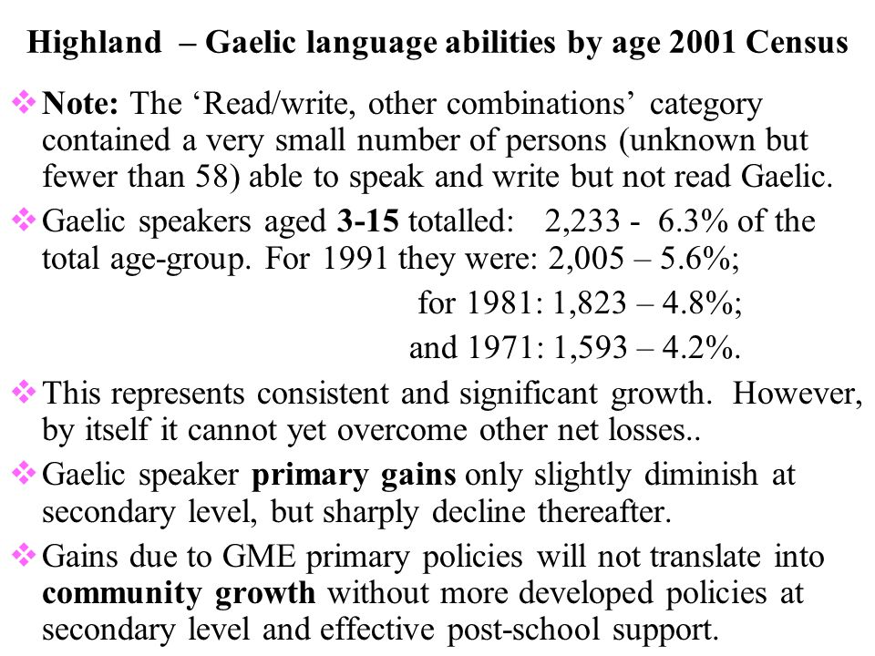 Highland council area 2001 Census: all persons with and without Gaelic language abilities – numbers (under-20s as: 0-2, 3-4, 5-11, 12-15, and 16-19.)