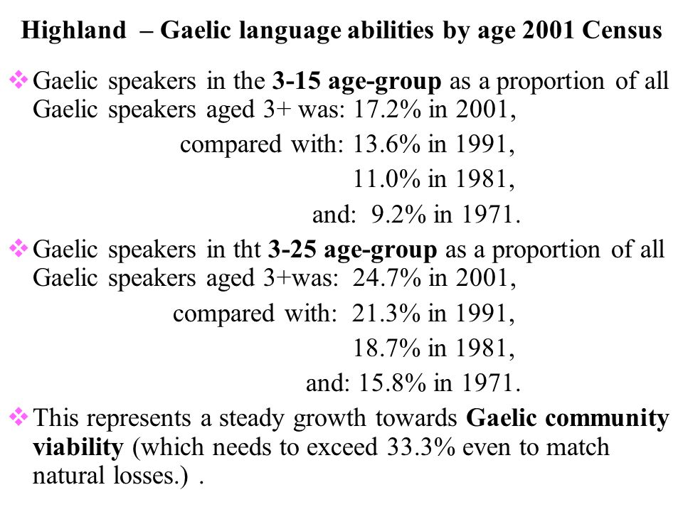 Highland – Gaelic language abilities by age 2001 Census  Gaelic speakers in the 3-15 age-group as a proportion of all Gaelic speakers aged 3+ was: 17.2% in 2001, compared with: 13.6% in 1991, 11.0% in 1981, and: 9.2% in 1971.