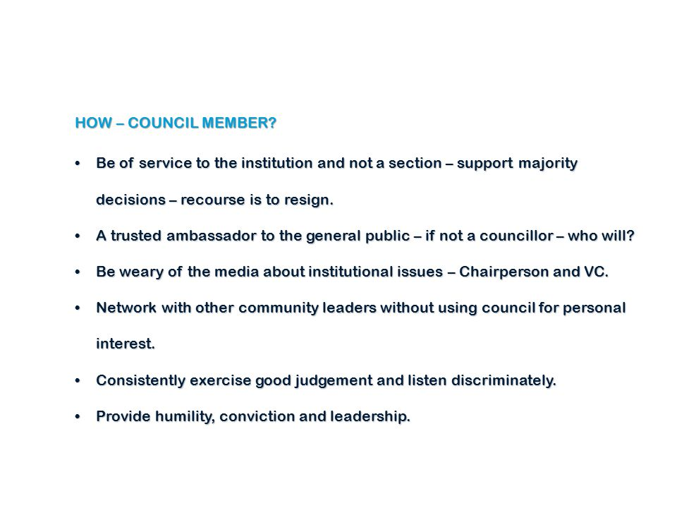 HOW – COUNCIL MEMBER.