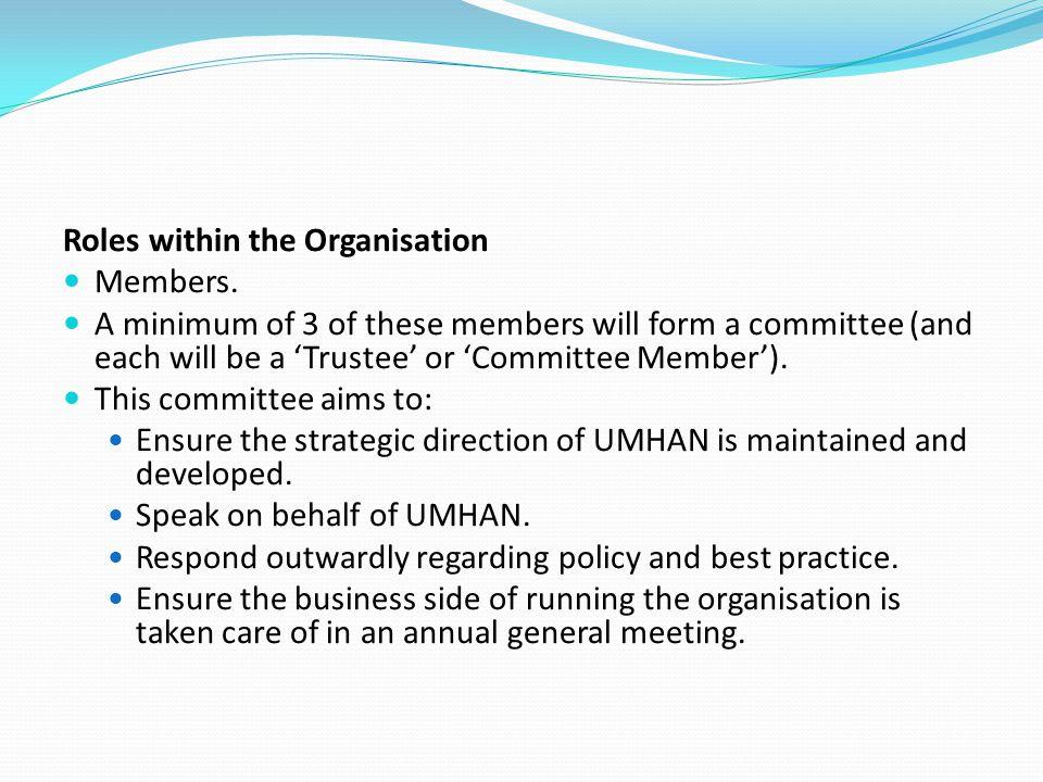 Meetings – minutes must be kept of all meetings.General meeting: Standard UMHAN meeting.