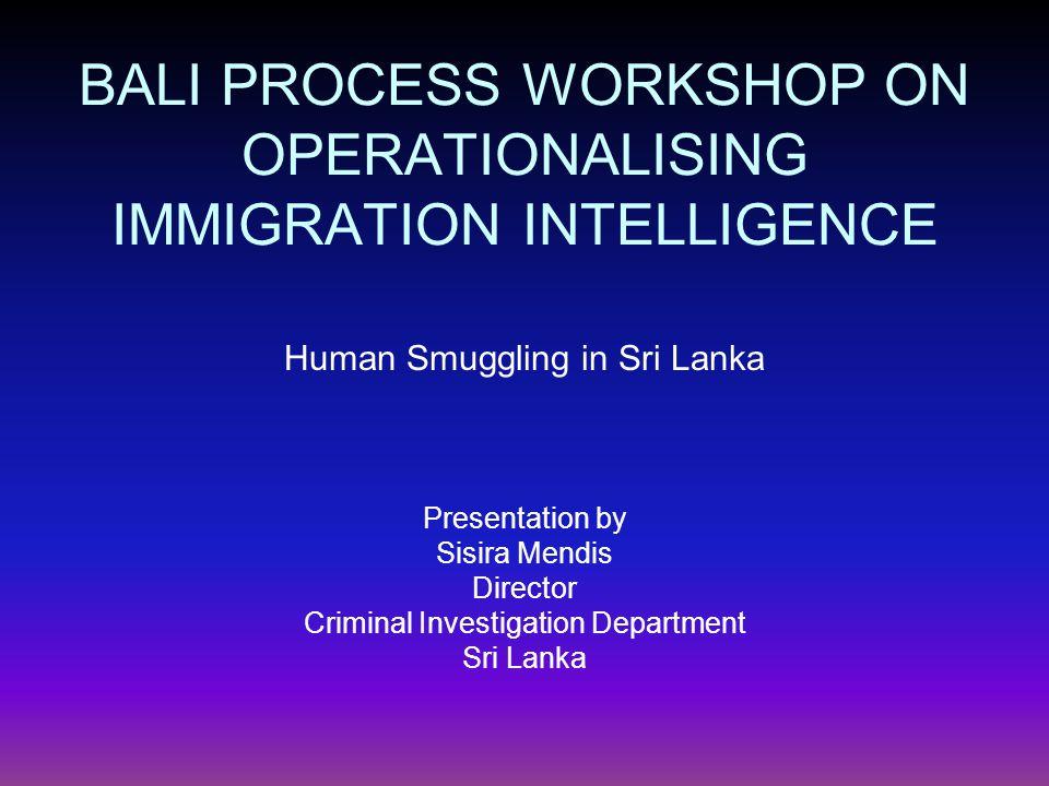 BALI PROCESS WORKSHOP ON OPERATIONALISING IMMIGRATION INTELLIGENCE Human Smuggling in Sri Lanka Presentation by Sisira Mendis Director Criminal Investigation Department Sri Lanka