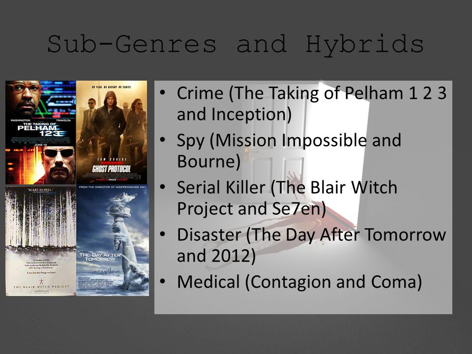 Sub-Genres and Hybrids Crime (The Taking of Pelham 1 2 3 and Inception) Spy (Mission Impossible and Bourne) Serial Killer (The Blair Witch Project and Se7en) Disaster (The Day After Tomorrow and 2012) Medical (Contagion and Coma)