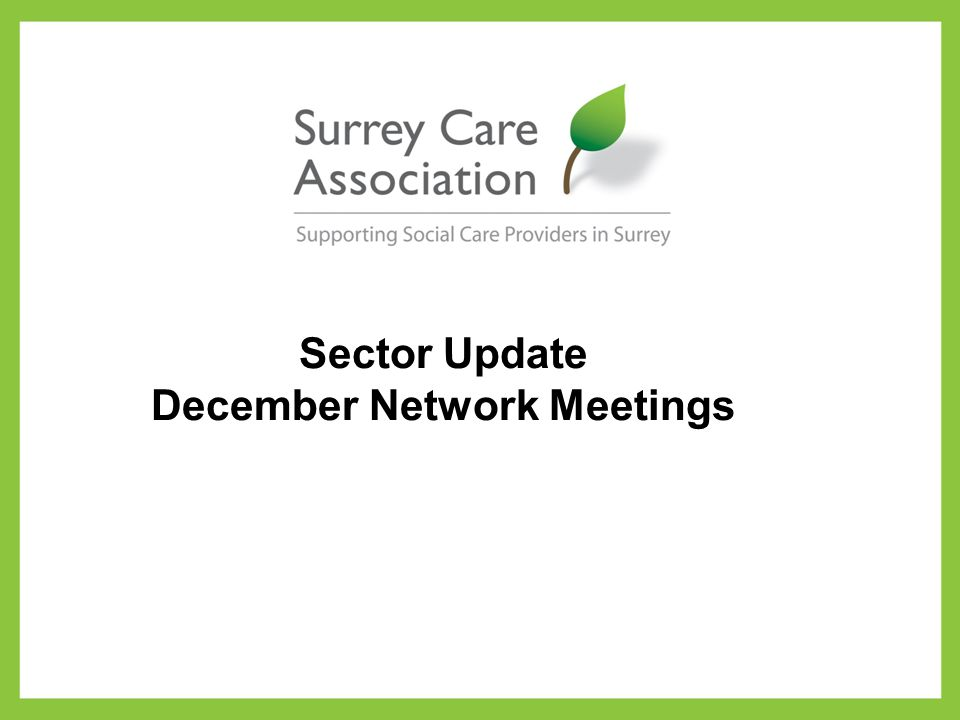 Sector Update December Network Meetings