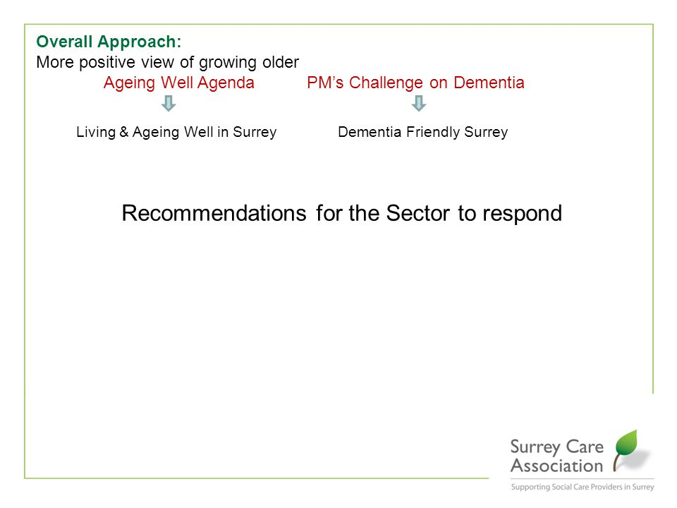 Overall Approach: More positive view of growing older Ageing Well AgendaPM's Challenge on Dementia Living & Ageing Well in Surrey Dementia Friendly Surrey Recommendations for the Sector to respond