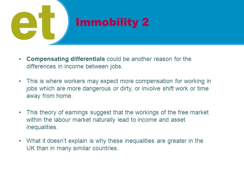 Compensating differentials could be another reason for the differences in income between jobs.