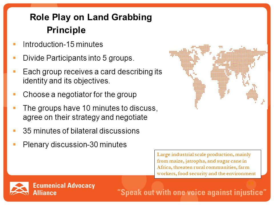 Role Play on Land Grabbing Principle  Introduction-15 minutes  Divide Participants into 5 groups.