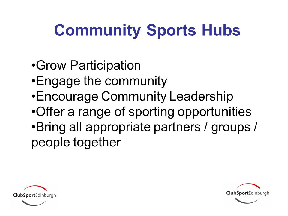 Community Sports Hubs Grow Participation Engage the community Encourage Community Leadership Offer a range of sporting opportunities Bring all appropr