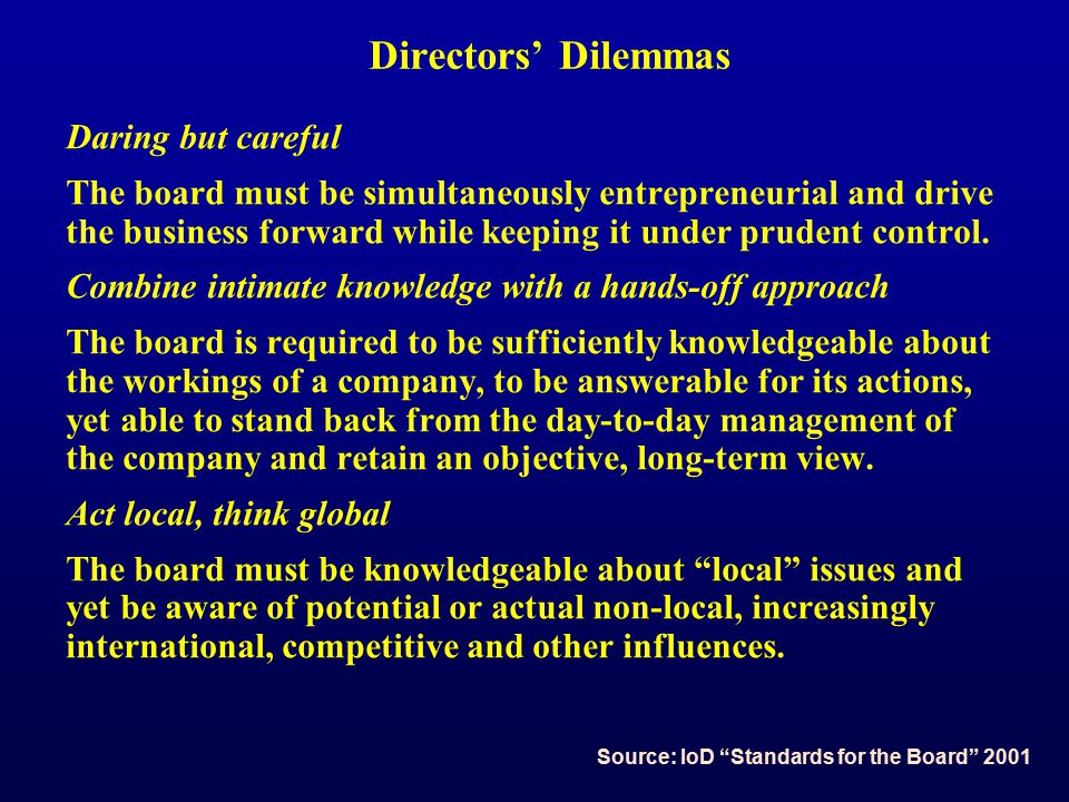 Directors' Dilemmas Daring but careful The board must be simultaneously entrepreneurial and drive the business forward while keeping it under prudent control.