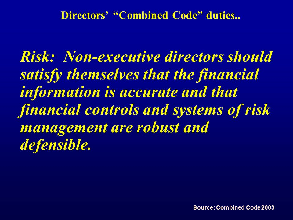 Directors' Combined Code duties..
