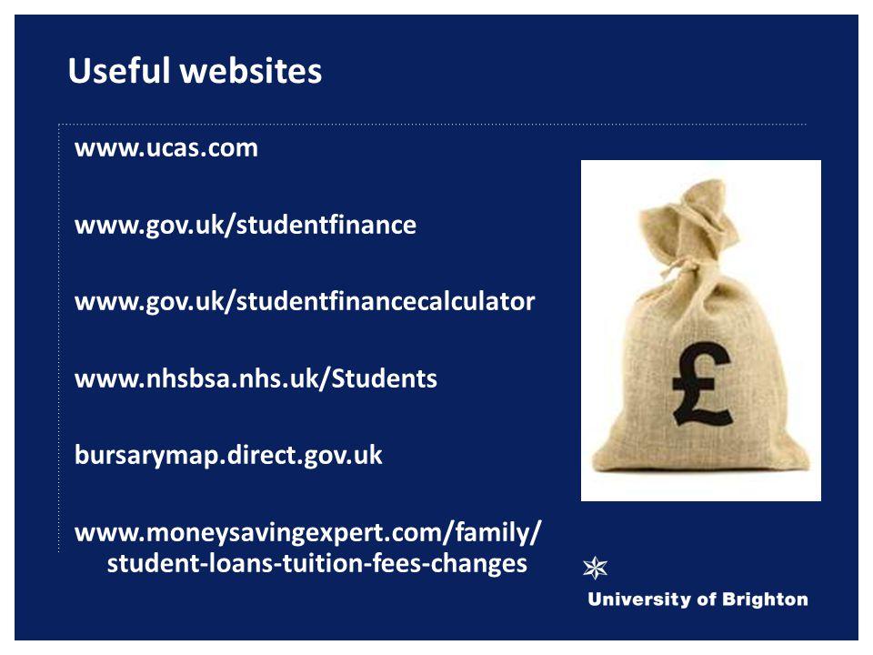 Useful websites www.ucas.com www.gov.uk/studentfinance www.gov.uk/studentfinancecalculator www.nhsbsa.nhs.uk/Students bursarymap.direct.gov.uk www.moneysavingexpert.com/family/ student-loans-tuition-fees-changes