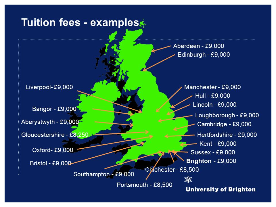 Tuition fees - examples Kent - £9,000 Southampton - £9,000 Hertfordshire - £9,000 Sussex - £9,000 Brighton - £9,000 Portsmouth - £8,500 Chichester - £8,500 Gloucestershire - £8,250 Aberystwyth - £9,000 Bangor - £9,000 Edinburgh - £9,000 Aberdeen - £9,000 Cambridge - £9,000 Oxford- £9,000 Bristol - £9,000 Liverpool- £9,000 Hull - £9,000 Lincoln - £9,000 Loughborough - £9,000 Manchester - £9,000