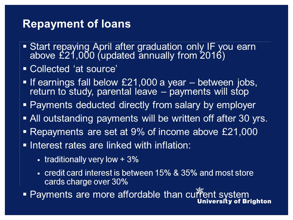 Repayment of loans  Start repaying April after graduation only IF you earn above £21,000 (updated annually from 2016)  Collected 'at source'  If earnings fall below £21,000 a year – between jobs, return to study, parental leave – payments will stop  Payments deducted directly from salary by employer  All outstanding payments will be written off after 30 yrs.