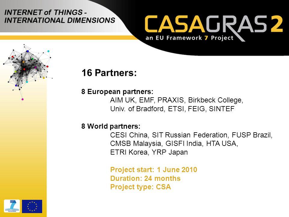 16 Partners: 8 European partners: AIM UK, EMF, PRAXIS, Birkbeck College, Univ.