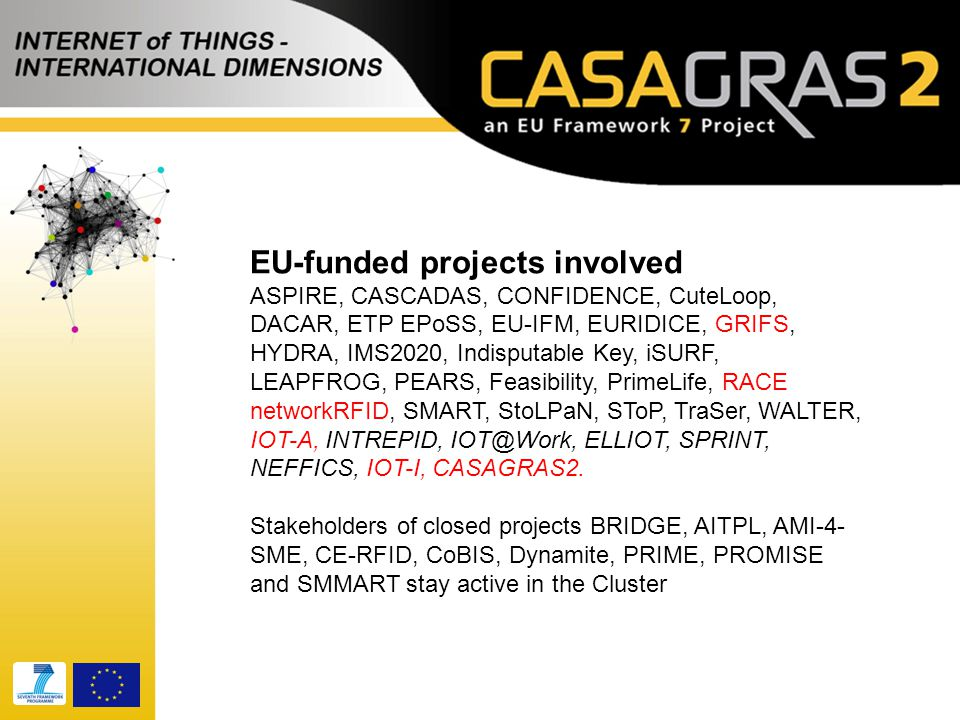 EU-funded projects involved ASPIRE, CASCADAS, CONFIDENCE, CuteLoop, DACAR, ETP EPoSS, EU-IFM, EURIDICE, GRIFS, HYDRA, IMS2020, Indisputable Key, iSURF, LEAPFROG, PEARS, Feasibility, PrimeLife, RACE networkRFID, SMART, StoLPaN, SToP, TraSer, WALTER, IOT-A, INTREPID, IOT@Work, ELLIOT, SPRINT, NEFFICS, IOT-I, CASAGRAS2.