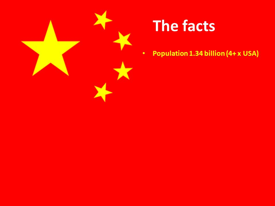 The facts Population 1.34 billion (4+ x USA)