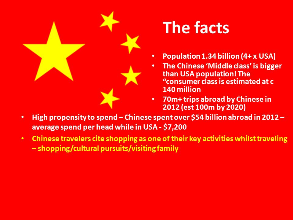The facts Population 1.34 billion (4+ x USA) The Chinese 'Middle class' is bigger than USA population.