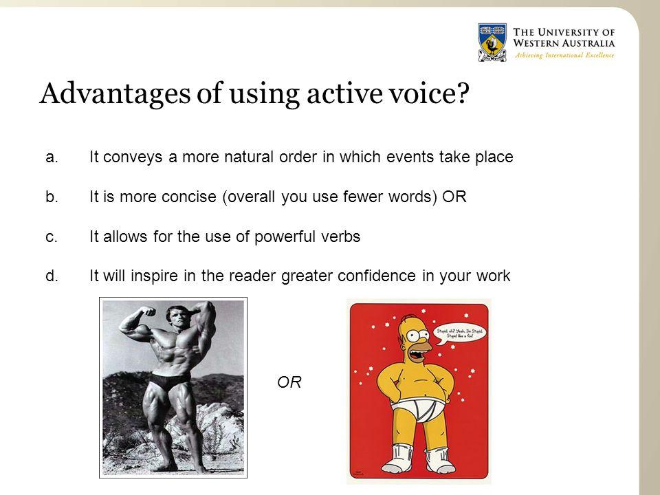 Advantages of using active voice.