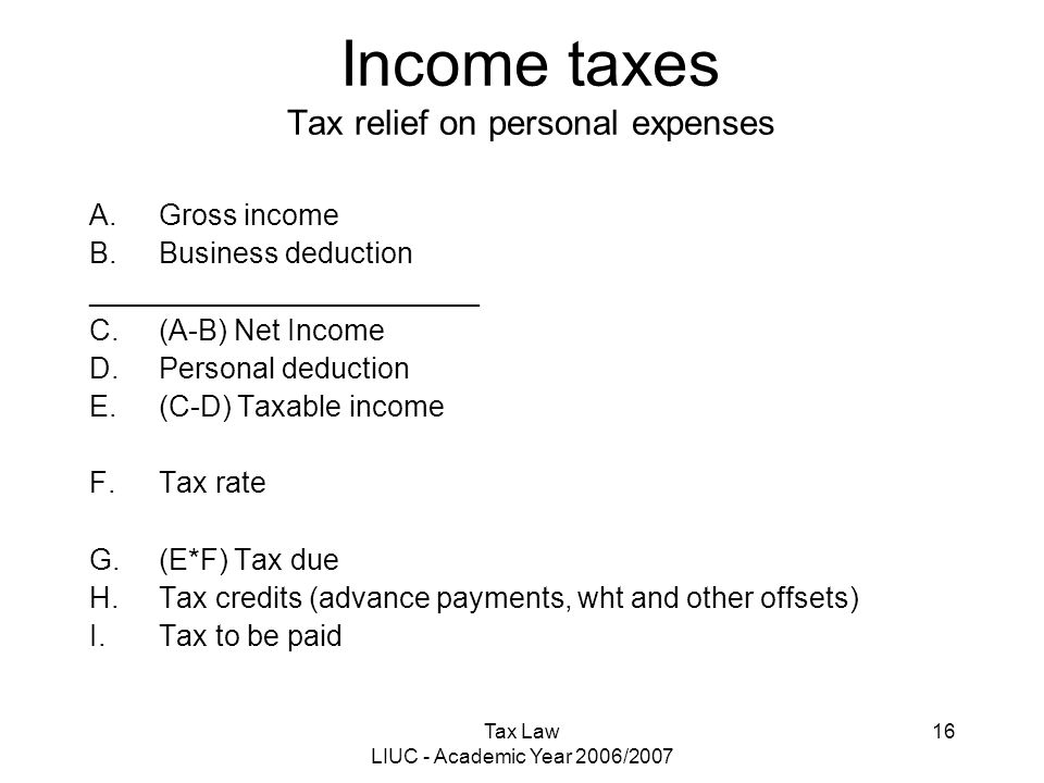 Tax Law LIUC - Academic Year 2006/2007 16 Income taxes Tax relief on personal expenses A.Gross income B.Business deduction ________________________ C.