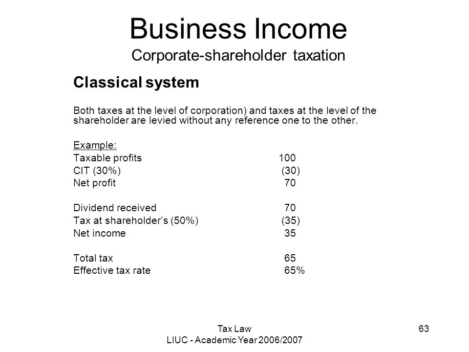 Tax Law LIUC - Academic Year 2006/2007 63 Business Income Corporate-shareholder taxation Classical system Both taxes at the level of corporation) and