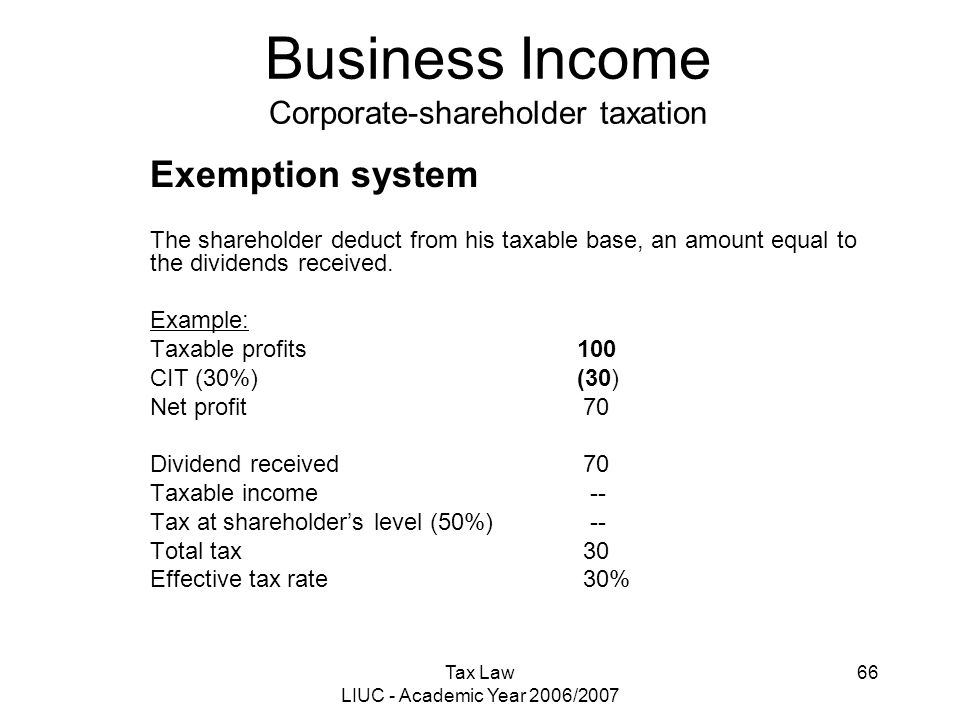 Tax Law LIUC - Academic Year 2006/2007 66 Business Income Corporate-shareholder taxation Exemption system The shareholder deduct from his taxable base
