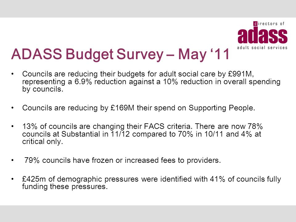ADASS Budget Survey – May '11 Councils are reducing their budgets for adult social care by £991M, representing a 6.9% reduction against a 10% reductio