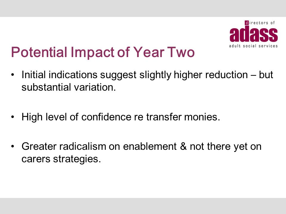 Potential Impact of Year Two Initial indications suggest slightly higher reduction – but substantial variation.