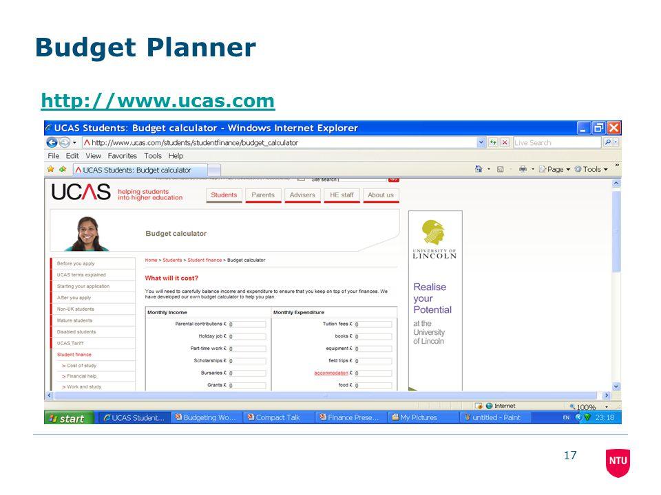 17 Budget Planner http://www.ucas.com