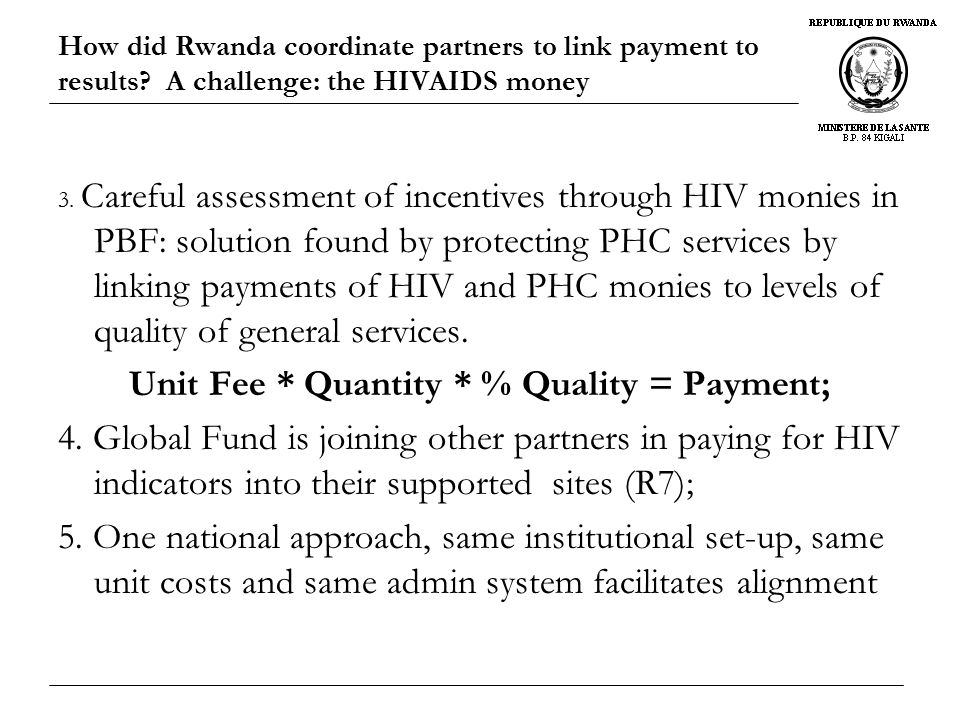 How did Rwanda coordinate partners to link payment to results.