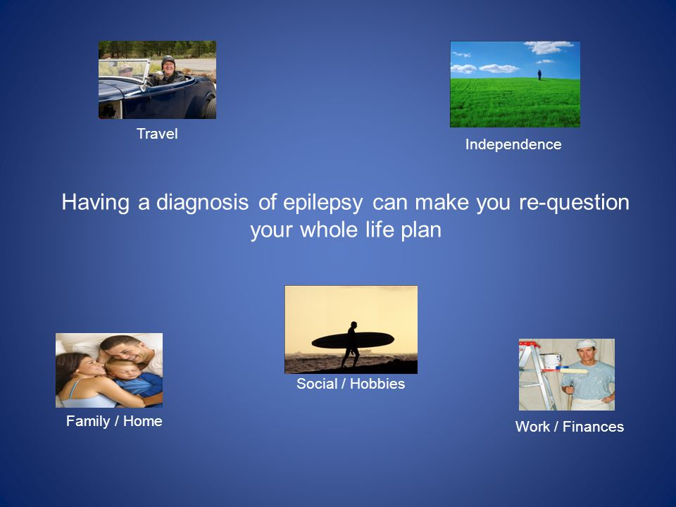 Having a diagnosis of epilepsy can make you re-question your whole life plan Work / Finances Family / Home Social / Hobbies Travel Independence
