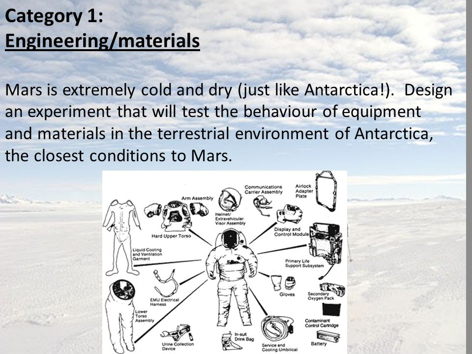 Category 1: Engineering/materials Mars is extremely cold and dry (just like Antarctica!).
