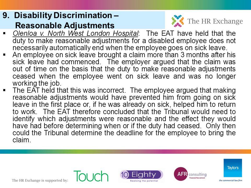 "3. ""Pool of One"" in Redundancy Selection 6. More Redundancy: Redundancy Scoring (Cont) 9. Disability Discrimination – Reasonable Adjustments  Olenloa"