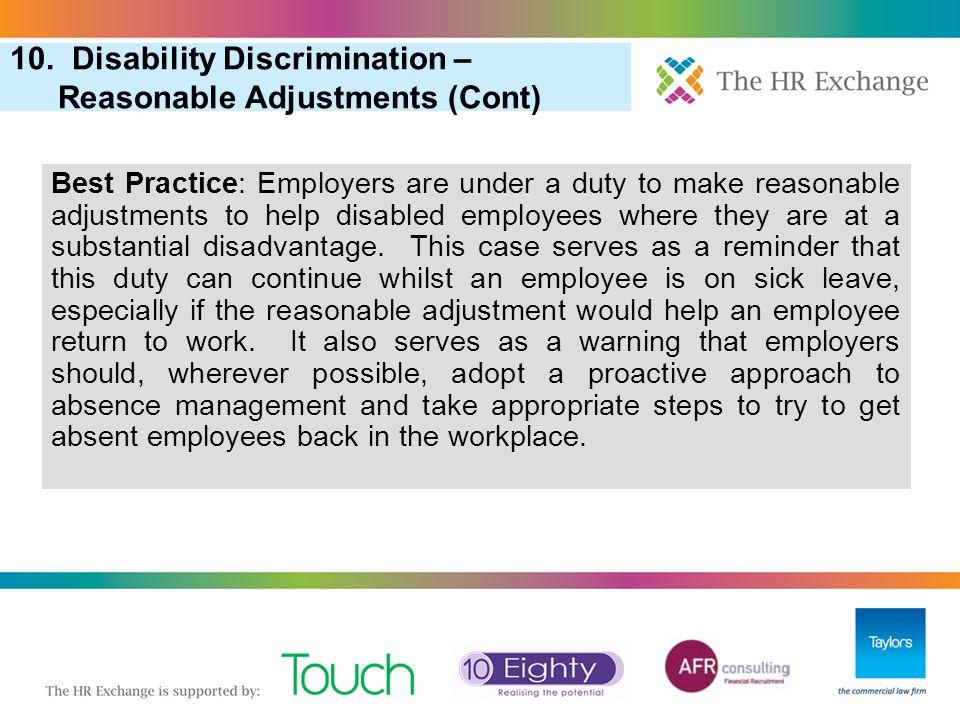 "3. ""Pool of One"" in Redundancy Selection 6. More Redundancy: Redundancy Scoring (Cont) 10. Disability Discrimination – Reasonable Adjustments (Cont) B"