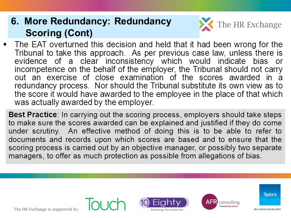"""3. """"Pool of One"""" in Redundancy Selection 6. More Redundancy: Redundancy Scoring (Cont)  The EAT overturned this decision and held that it had been wr"""