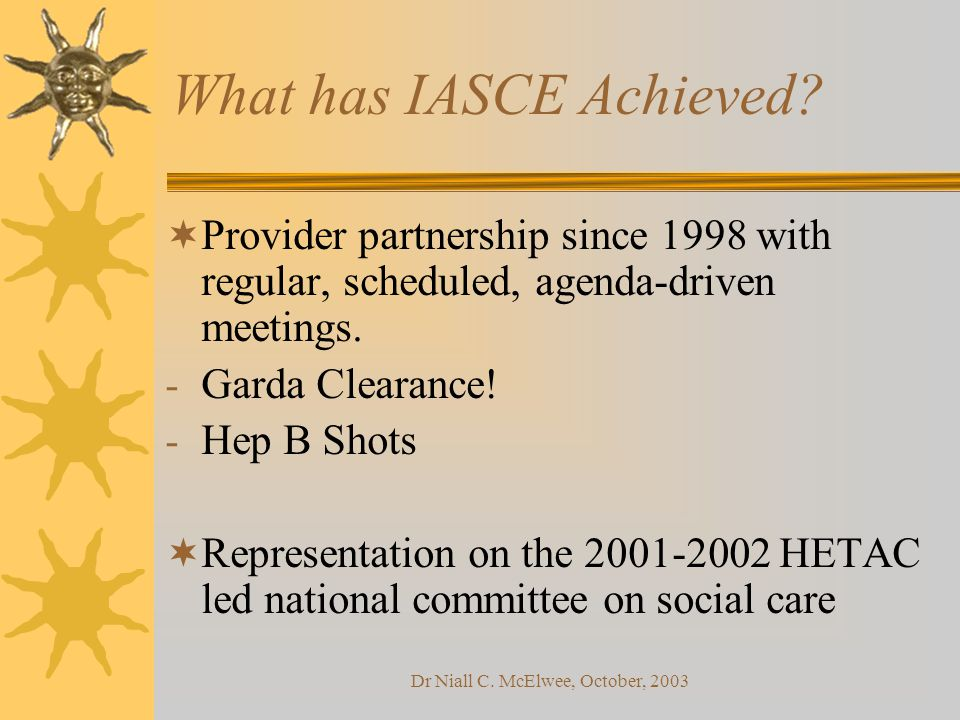 Dr Niall C. McElwee, October, 2003 What has IASCE Achieved.