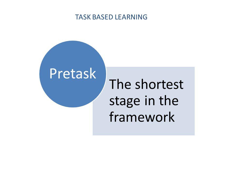 TASK BASED LEARNING The shortest stage in the framework Pretask