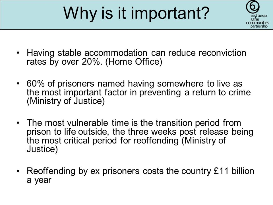 Having stable accommodation can reduce reconviction rates by over 20%.