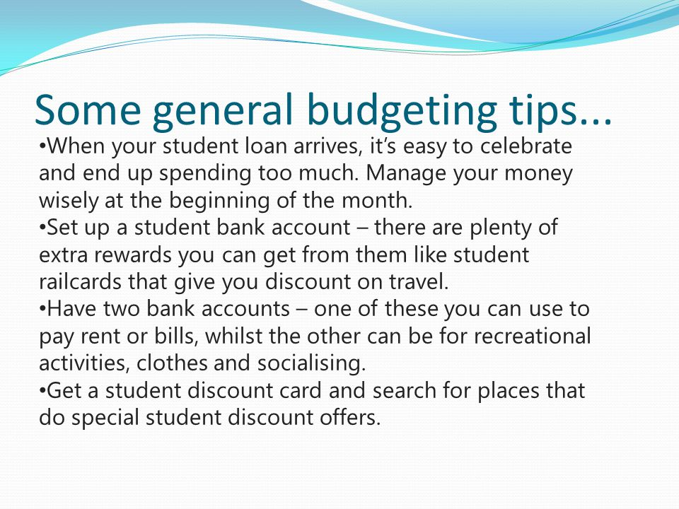 Some general budgeting tips...