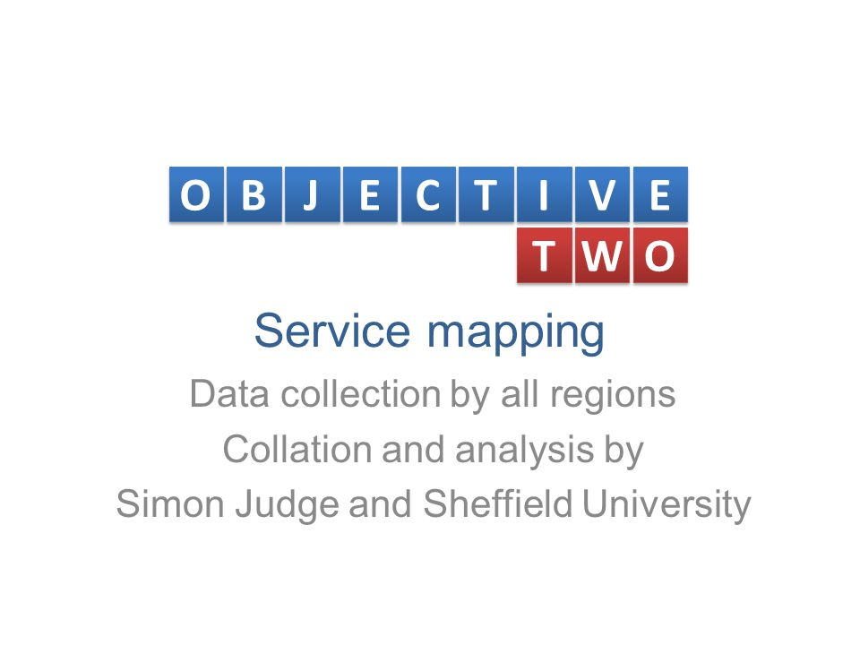 Service mapping Data collection by all regions Collation and analysis by Simon Judge and Sheffield University O O B B J J E E C C T T I I V V E E T T W W O O
