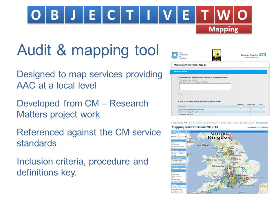 Audit & mapping tool Designed to map services providing AAC at a local level Developed from CM – Research Matters project work Referenced against the CM service standards Inclusion criteria, procedure and definitions key.