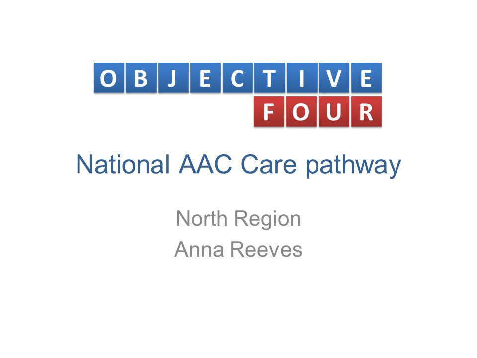 National AAC Care pathway North Region Anna Reeves O O B B J J E E C C T T I I V V E E F F O O U U R R