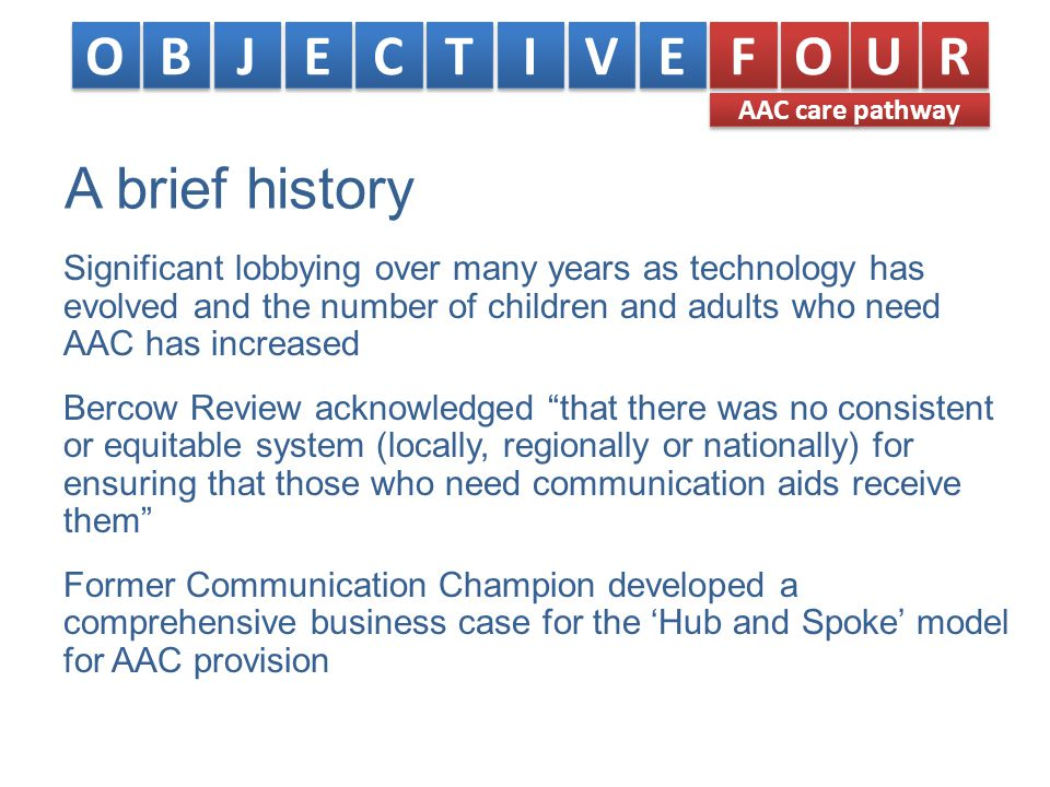 A brief history Significant lobbying over many years as technology has evolved and the number of children and adults who need AAC has increased Bercow Review acknowledged that there was no consistent or equitable system (locally, regionally or nationally) for ensuring that those who need communication aids receive them Former Communication Champion developed a comprehensive business case for the 'Hub and Spoke' model for AAC provision O O B B J J E E C C T T I I V V E E F F O O U U R R AAC care pathway