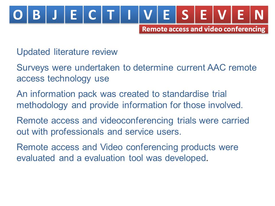 Updated literature review Surveys were undertaken to determine current AAC remote access technology use An information pack was created to standardise trial methodology and provide information for those involved.